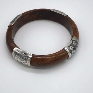 Silpada Wood and Stamped Sterling Silver Bracelet
